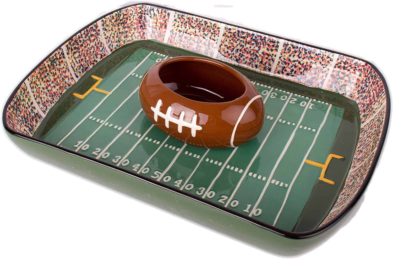 football stadium chip and dip sports serving set   kimschob.com