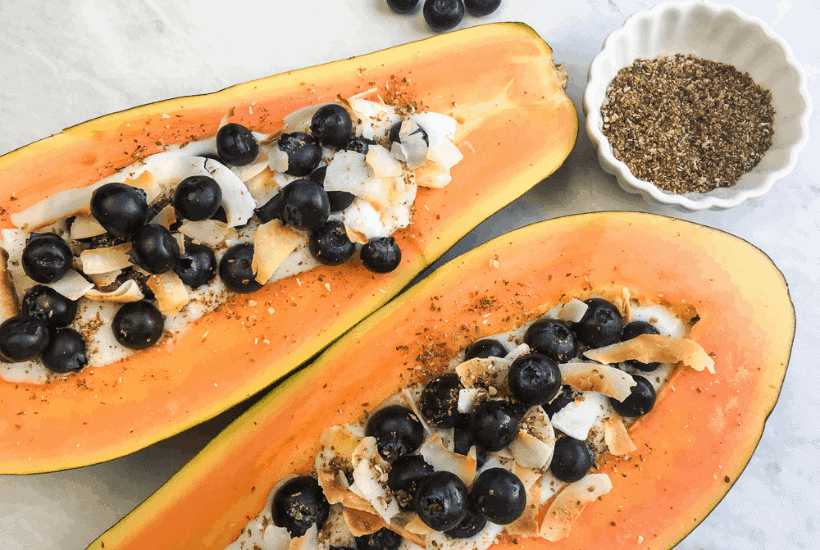 Healthy-5-Ingredient-Papaya-Breakfast-Bowls | kimschob.com