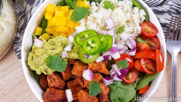 Low Carb Instant Pot Chicken Burrito Bowls 19 • Kim Schob