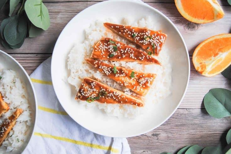 Sticky Orange Tofu Featured Image • Kim Schob
