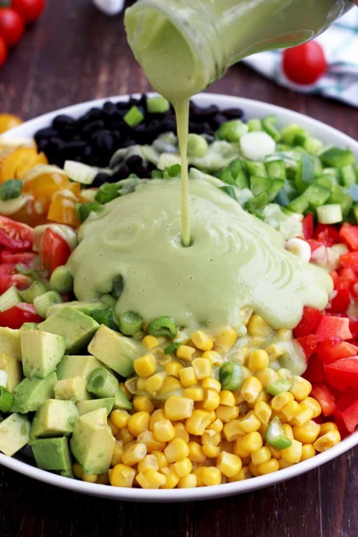 Vegan Mexican salad and avocado dressing • Kim Schob