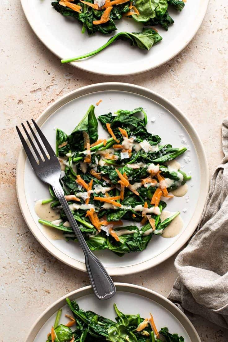 Warm Wilted Spinach Vegan Salad 6 • Kim Schob