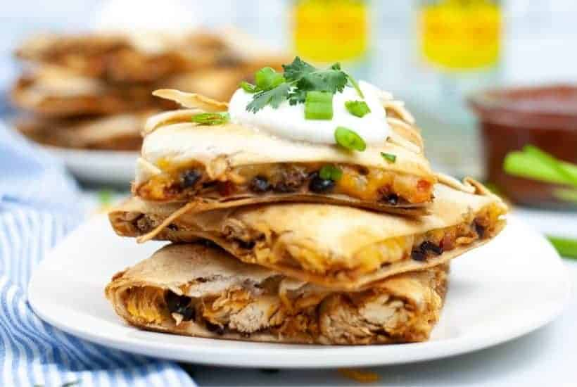 sheet pan chicken black bean quesadilla with sautéed vegetables