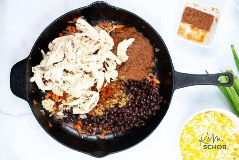 sheet pan chicken quesadilla In process 2 • Kim Schob