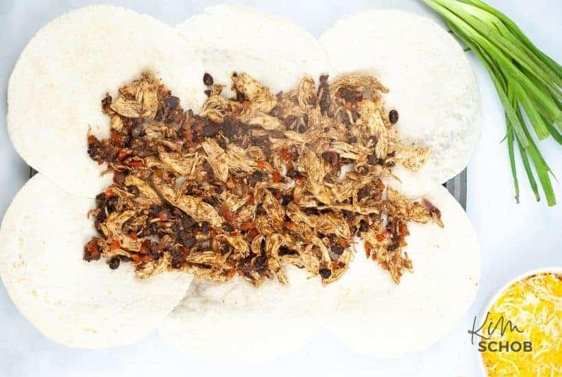 sheet pan chicken quesadilla In process 4 • Kim Schob