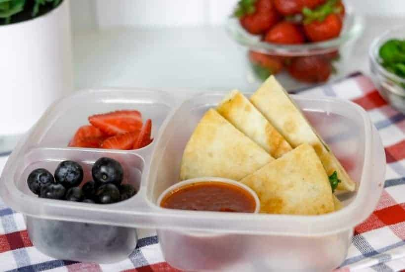 easy lunch box ideas filled with fresh fruit and a quesadilla with pizza sauce for dipping | kimschob.com
