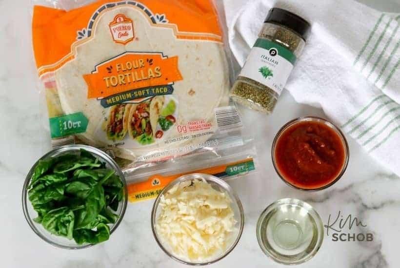spinach pizzadilla ingredients • Kim Schob