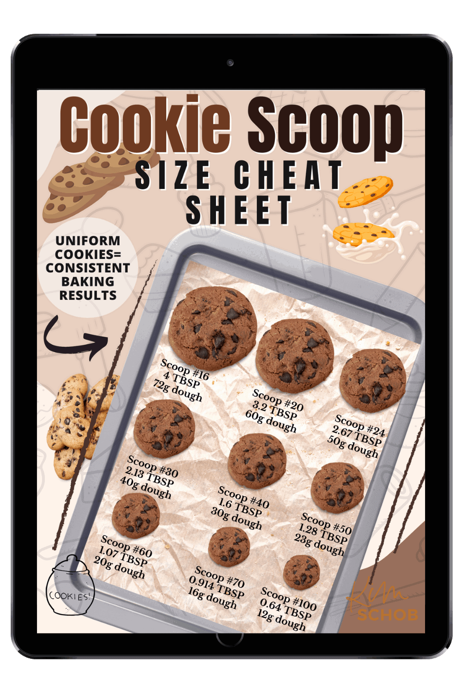 Cookie Scoop Size Cheat Sheet   kimschob.com