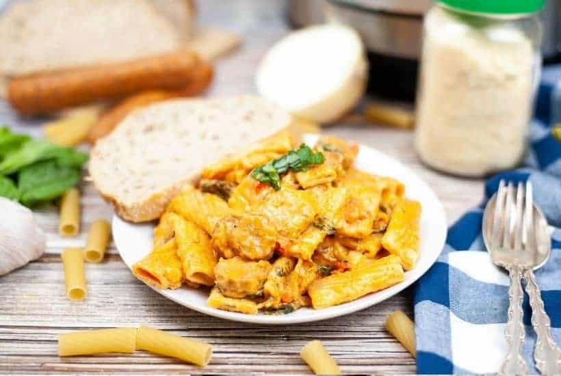 creamy sausage and rigatoni pasta made in the instant pot