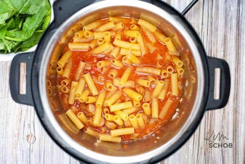 Instant Pot Sausage Rigatoni in process 2 • Kim Schob