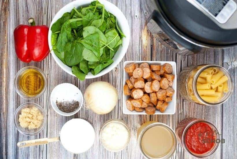 Instant Pot Sausage Rigatoni ingredients • Kim Schob