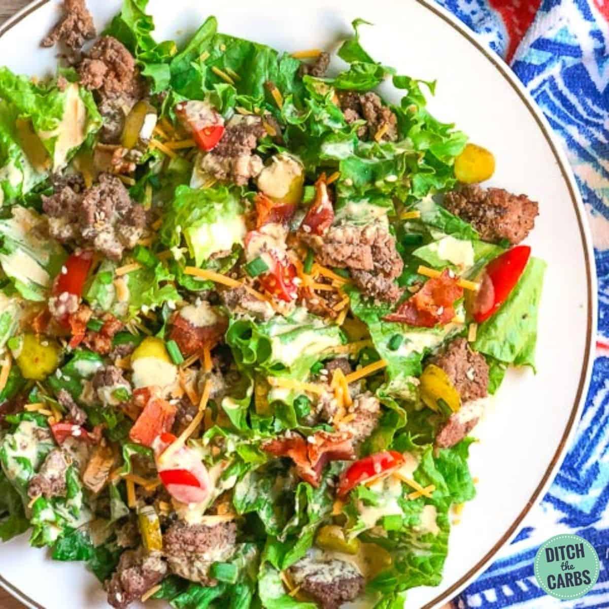 Keto Hamburger Salad 1200x1200 1 • Kim Schob