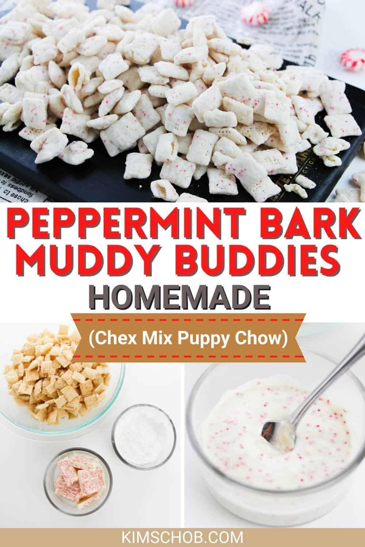 Peppermint Bark Muddy Buddies | kimschob.com