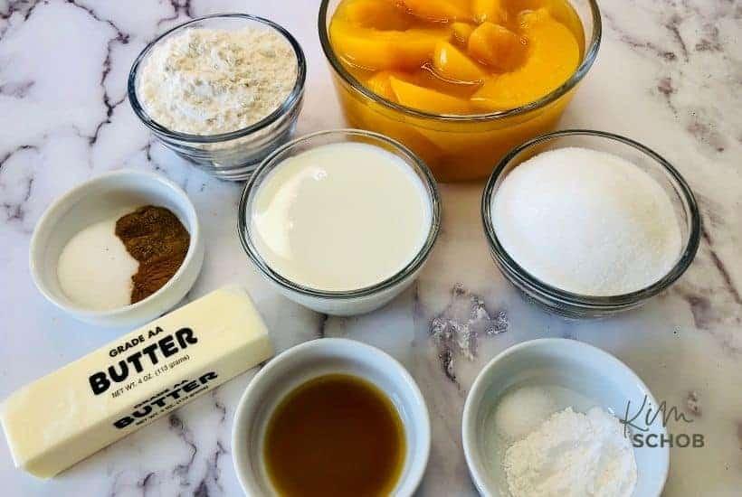 Southern peach cobbler ingredients • Kim Schob