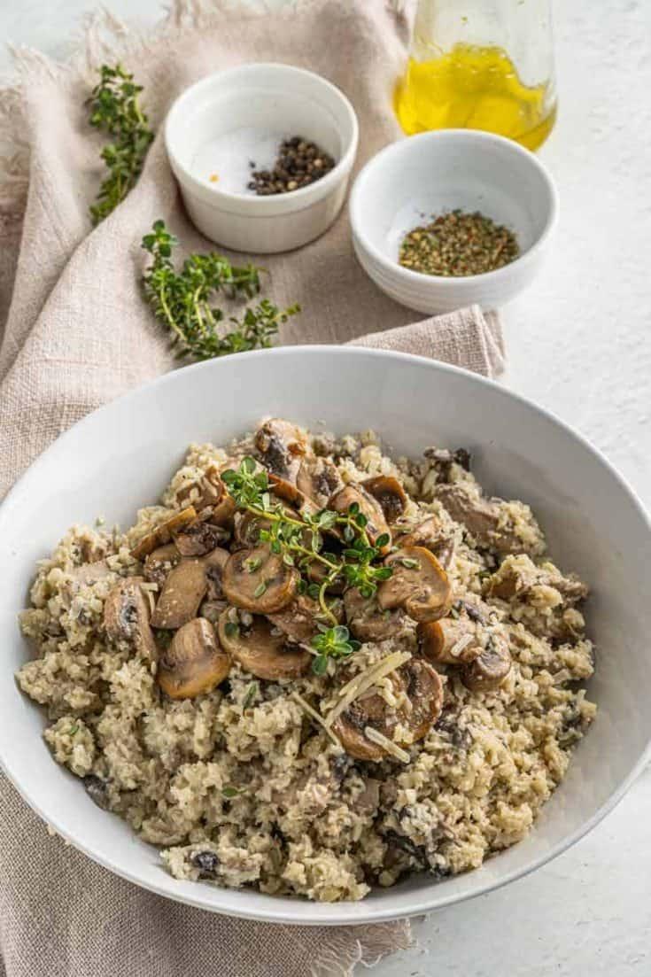 cauliflower rice risotto with mushrooms • Kim Schob
