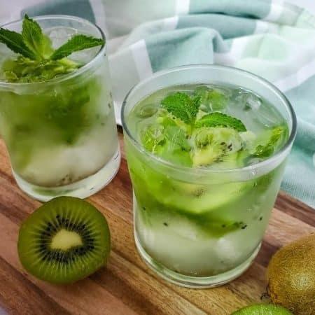 kiwi mint mojito in a cocktail glass