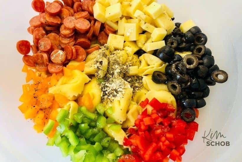 loaded tortellini salad in process 2 • Kim Schob