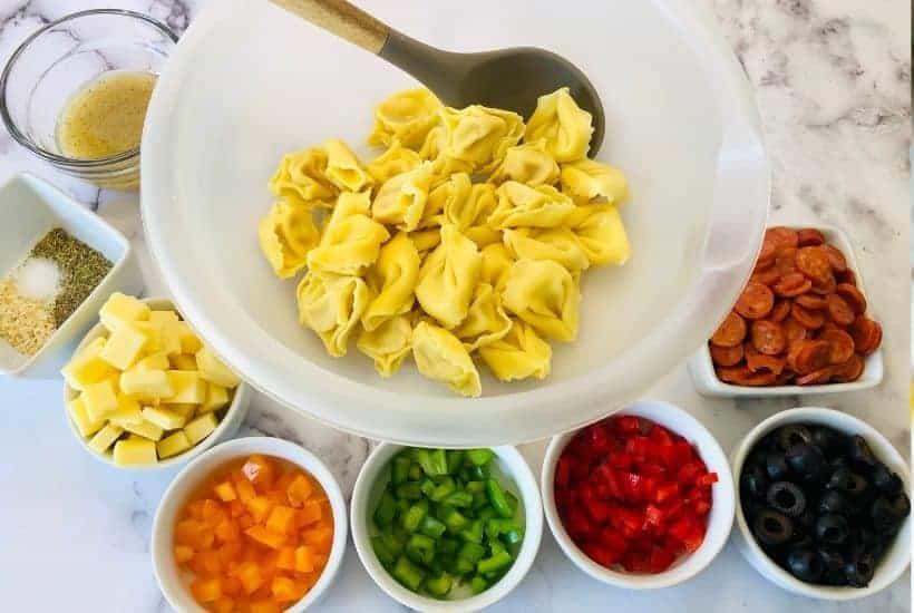 loaded tortellini salad in process • Kim Schob