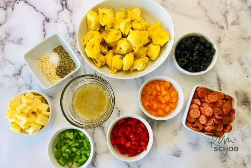 loaded tortellini salad ingredients • Kim Schob